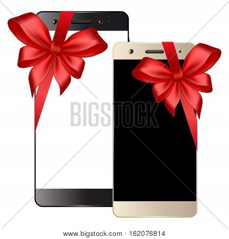 Black and white smartphone. Smartphones with bow isolated on white background. Mobile phone template. Cell phone gift. Vector illustration.