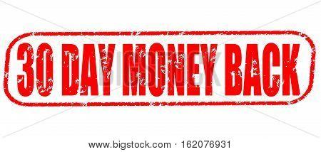30 day money back on the white background, red illustration