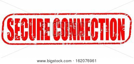 Secure connection on the white background, red illustration