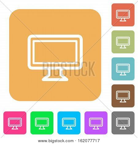 Monitor icons on rounded square vivid color backgrounds.