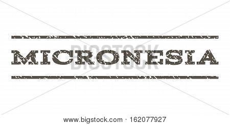 Micronesia watermark stamp. Text tag between horizontal parallel lines with grunge design style. Rubber seal stamp with unclean texture. Vector grey color ink imprint on a white background.