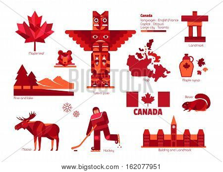 Canada sign and symbol, Vector info-graphic elements.