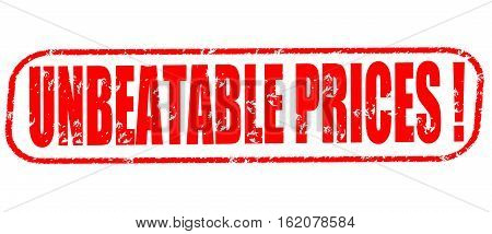 Unbeatable prices on the white background, red illustration