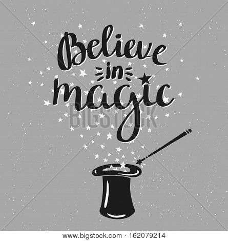Magic hat background with stars and inspiring phrase