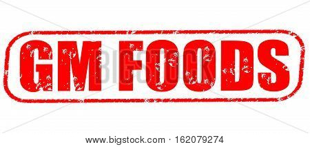 GM foods on the white background, red illustration