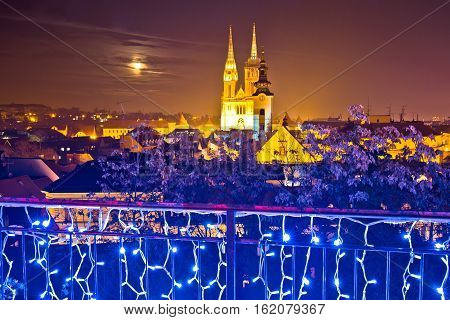 Zagreb Cathedral Evening Advent View
