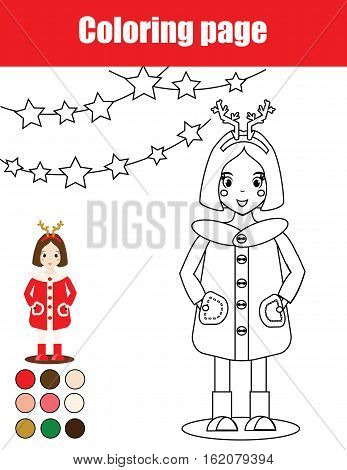 Coloring page with kid girl. Children educational game, drawing activity, printable worksheet. Christmas, winter holidays theme