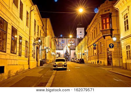 Zagreb Upper Town Street Evening View