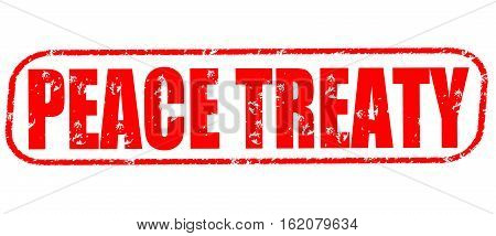 Peace treaty on the white background, red illustration