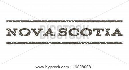 Nova Scotia watermark stamp. Text tag between horizontal parallel lines with grunge design style. Rubber seal stamp with unclean texture. Vector grey color ink imprint on a white background.