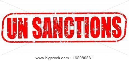UN sanctions on the white background, red illustration