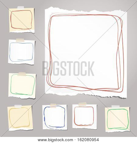 Ripped white and brown notebook, note, copybook paper sheets with colorful doodle frames, stuck on background.