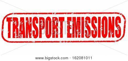 Transport emissions on the white background, red illustration