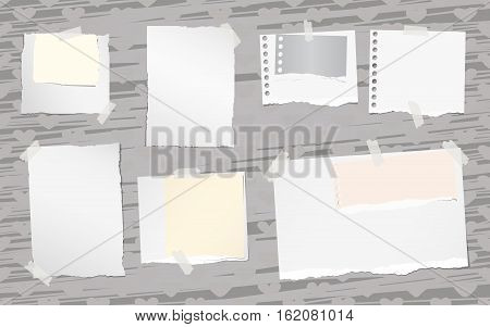 Ripped white notebook, note, copy book paper sheets stuck on pattern created of heart shapes and brush strokes..
