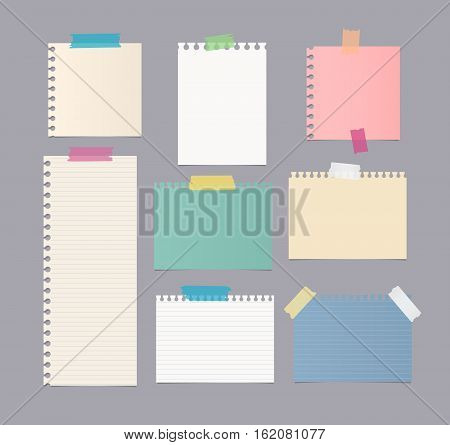 Pieces of different size colorful note, notebook, copybook paper sheets stuck with sticky tape on gray background.