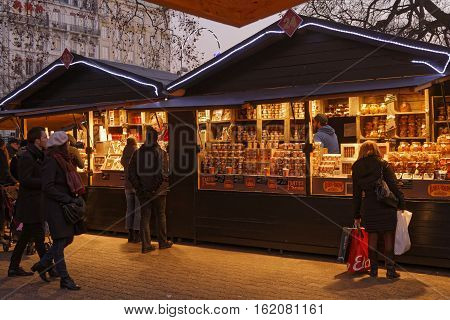 Lyon, France, December 17, 2016 : The Christmas Market Of Lyon, A Village Of More Than 130 Chalets O