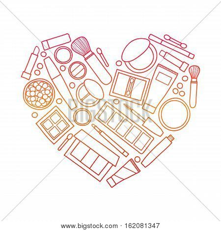 Hand drawn outline beauty makeup products including powder, concealer, blushes, mascara, lipstick, foundation, eye shadows, brushes composed in heart shape.