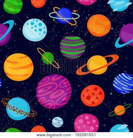 Bright seamless pattern with different cartoon fantastic space planets.