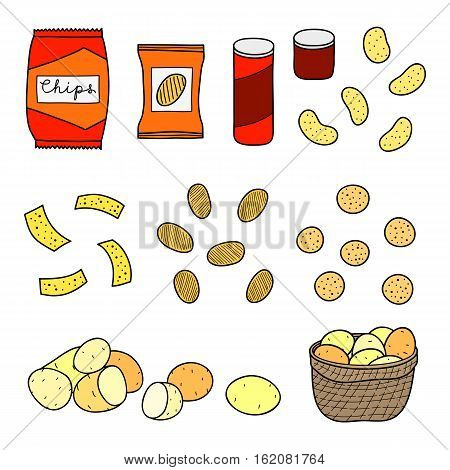 Hand drawn chips varieties, snacks, packs, tube boxes and potatoes isolated on white background.