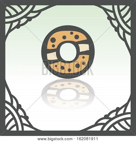 Vector outline sweet donut food icon in hand drawn frame. Elements for mobile concepts and web apps. Modern infographic logo and pictogram.