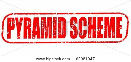 Pyramid scheme on the white background, red illustration
