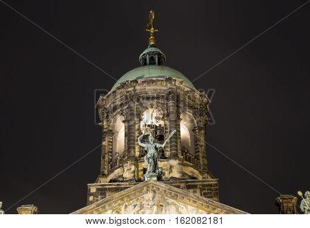 Cupola at dam square at night amsterdam
