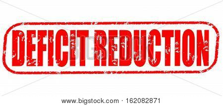 Deficit reduction on the white background, red illustration