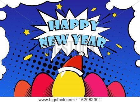 Happy New Year vector card with color eggs in a Santa hat and greeting text. Comics style.