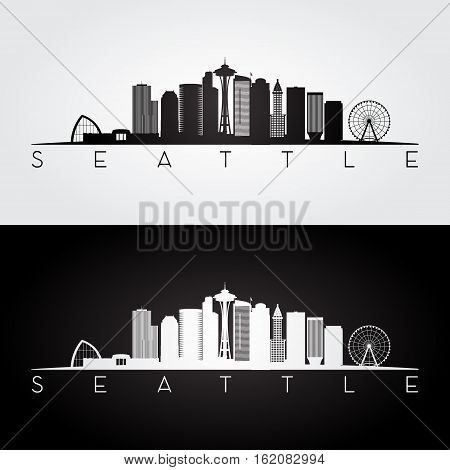 Seattle USA skyline and landmarks silhouette black and white design vector illustration.
