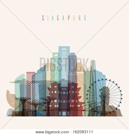 Transparent style Singapore skyline detailed silhouette. Trendy vector illustration.