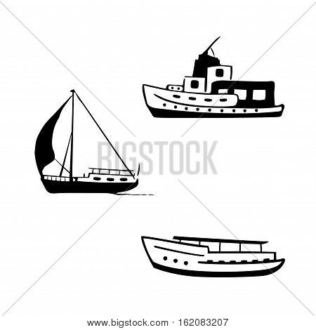 Ocean transport set. Sailing and motor boats yacht motor boat.