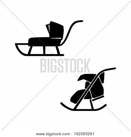 Winter. Sled. Hand drawn vector set of two sleds for baby suckling. Sledge pram