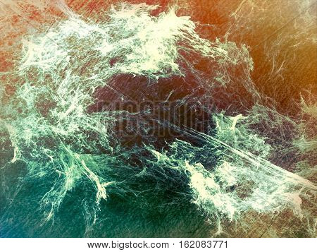 Colourful fractal background - abstract computer-generated image. Digital art: chaos strokes like smoke. Randomly placed lines and curves. For textures, covers, banners.