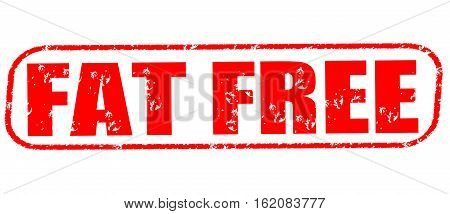 Fat free on the white background, red illustration