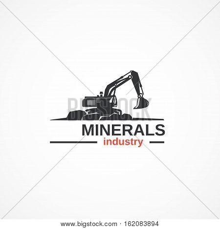 Excavator logo vector illustration is fully editable.