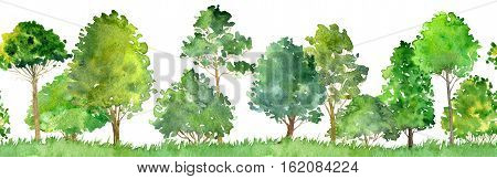 watercolor landscape with deciduous trees, pine, bushes and grass, seamless pattern, abstract nature background, forest border, hand drawn illustration