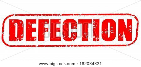 Defection on the white background, red illustration