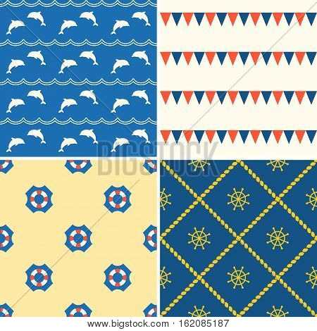 Set of seamless background nautical theme such as dolphin, life vest, flag and helm, flat design vector