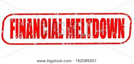Financial meltdown on the white background, red illustration
