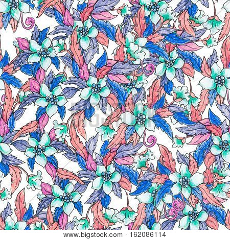 Pencil illustration of exotic hawaiian tropical flower, hibiscus, surrounded by lots of leaves and branches. Floral seamless, repeatable pattern background. Perfect for fabric or summer illustrations.
