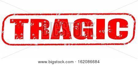 Tragic on the white background, red illustration
