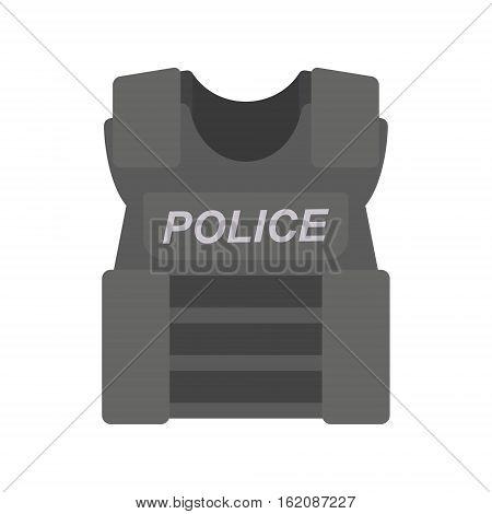 bullet proof vest police on white. vector illustration