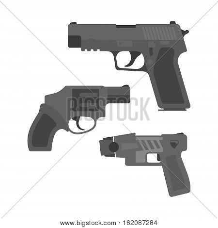 Vector illustration of a black handheld pistol