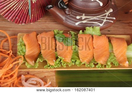 Salmon raw sashimi with wasabi Japanese food style