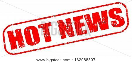 Hot news on the white background, red illustration
