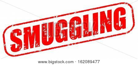 Smuggling on the white background, red illustration