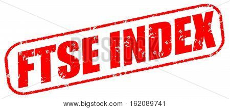 FTSE index on the white background, red illustration