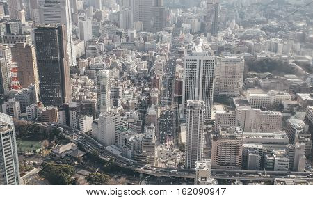 Tokyo aerial  from Sky tower observatory point