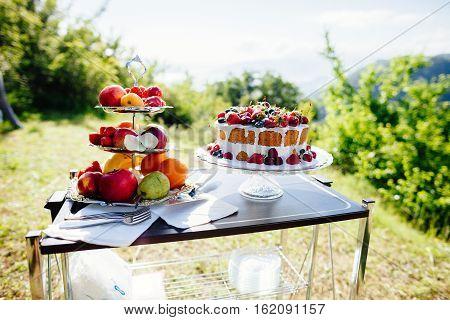Fancy Fruit Cake Top View