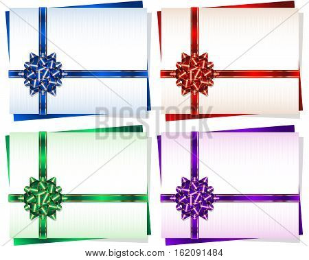 Bow with a ribbon on a gift card frame; Vector set Eps10; Bow-knot version B